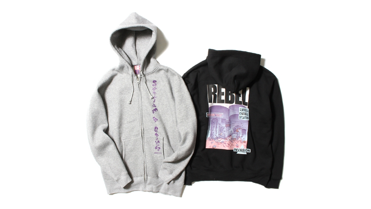 047 REBEL ZIP UP HOODIE( GRAY BLACK) ¥11,000