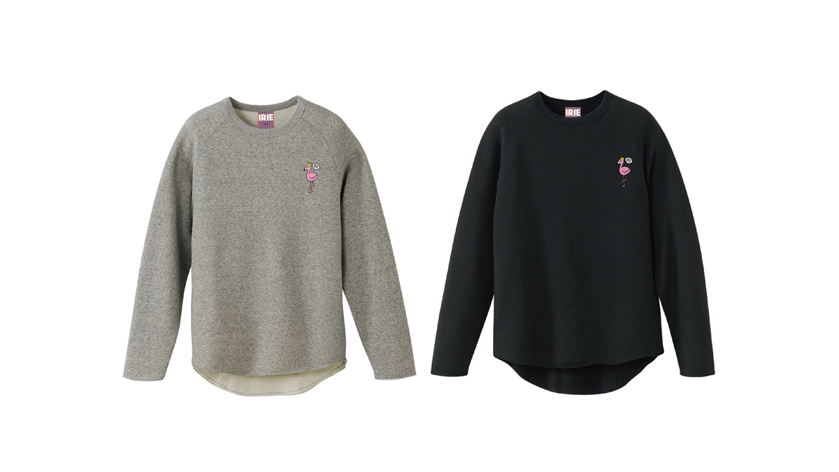 056 IRIE FLAMINGO GIRL CREW (GRAY BLACK) ¥7,000
