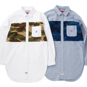 010 CAMO LINE LONG SHIRT ( WHITE BLUE ) ¥15,000