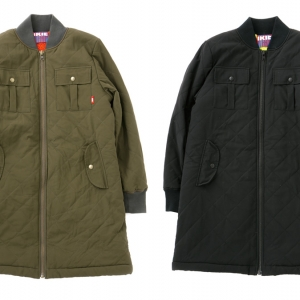 090 QUILTING LONG MA-1 ( OLIVE BLACK ) ¥27,800