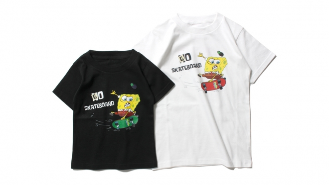 K008 ×SPONGE BOB SKATEBOARD KIDS TEE (WHITE BLACK) ¥3,800