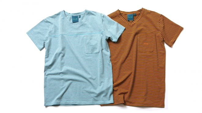 047 POCKET V-NECK BORDER TEE ( Lt.BLUE ORANGE ) ¥6,800