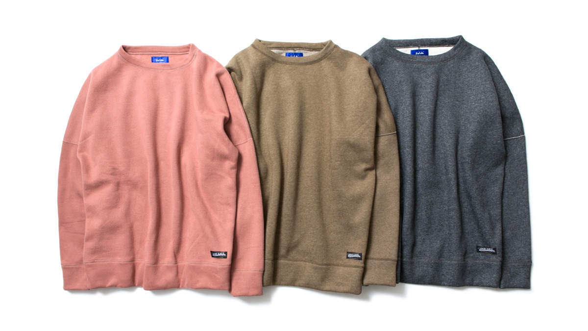 012 DROP SHOULDER CREW (SALMONPINK OLIVE CHACOAL) ¥16,500