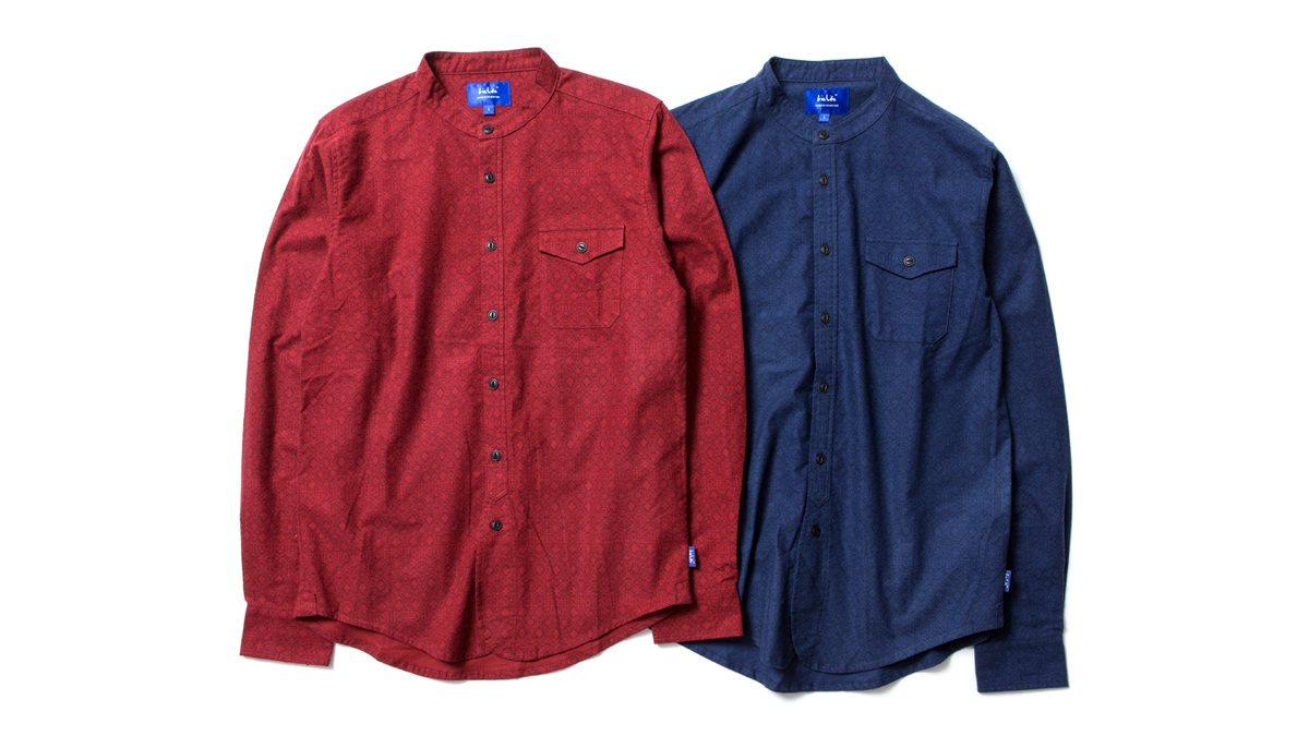 015 STAND COLLAR FLANNEL SHIRT (RED NAVY) ¥17,000