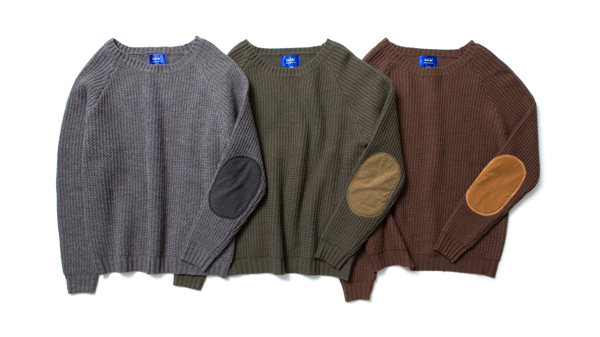 025 ELBOW PATCH KNIT (CHACOAL OLIVE BROWN) ¥15,000