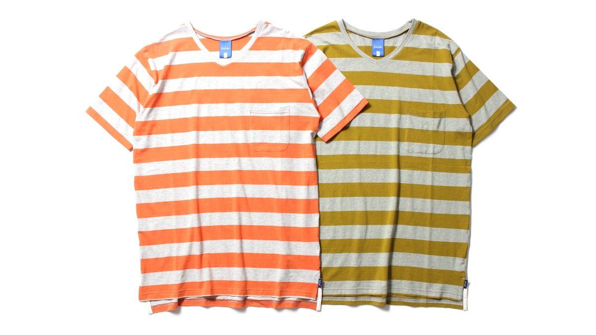 037 V-NECK BORDER TEE (ORANGE OLIVE) ¥7,000