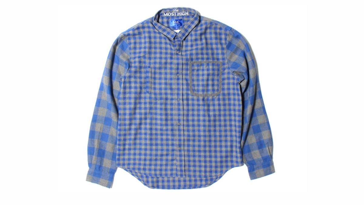 010 LIFE GHAM CHECK FLANNEL SHIRT (GRY×BLUE)¥16,000
