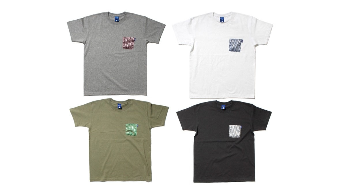 017 FLAG CHECK POCKET TEE (GRAY WHITE OLIVE CHACOAL) ¥5,500
