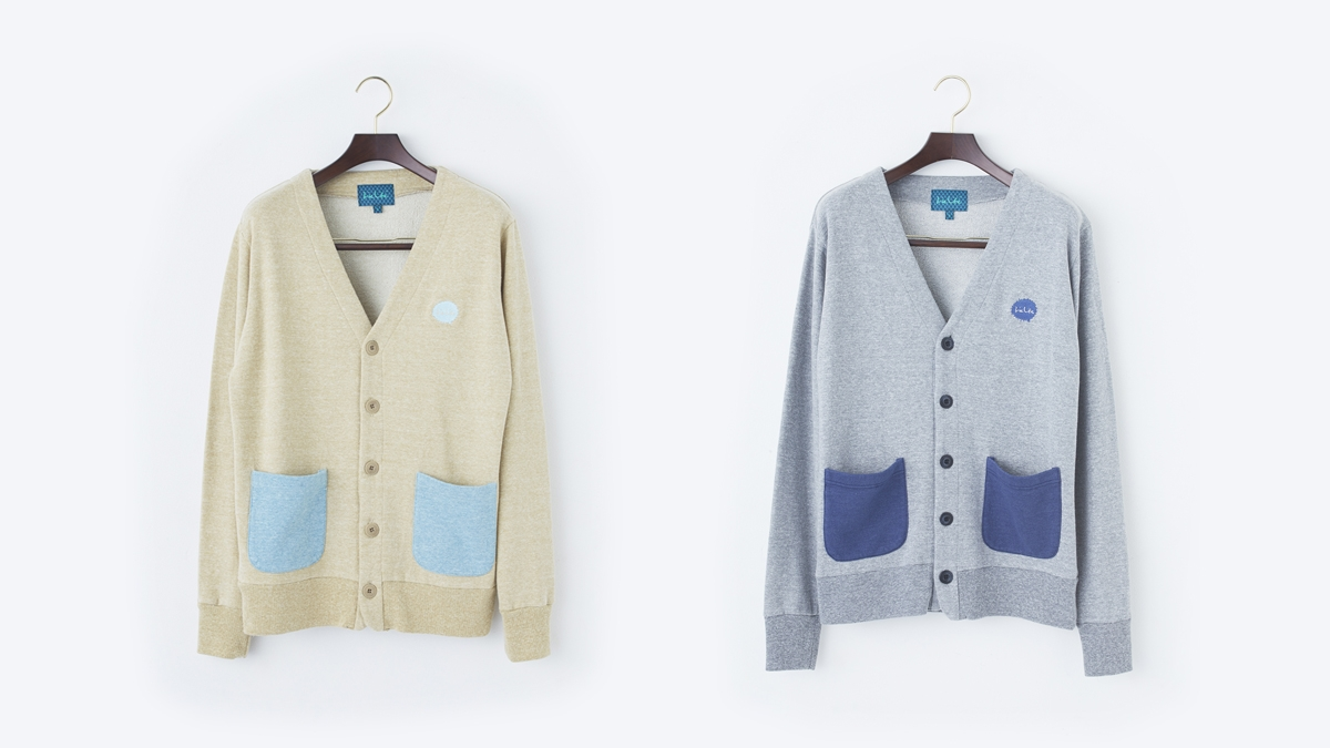 SPLASH SWEAT CARDIGAN (BROWN:GRAY) ¥14,000