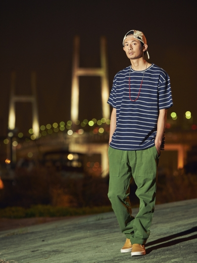 BORDER BIG TEE #01 / EAZY CHINO PANTS / x7UNION URBAN COTTON CAP / LIFE STONE NACKLACE