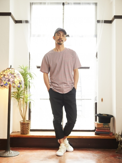 LIFE 4PANEL CAP / SANDWICHES BORDER TEE / LIFE WORK CHINO